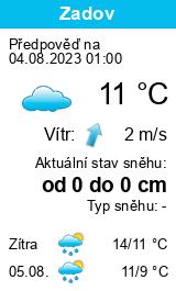 Počasí Zadov - Slunečno.cz