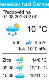 Počasí Benešov nad Černou - Slunečno.cz