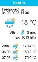 Počasí Vsetín - Slunečno.cz