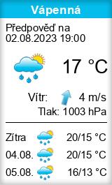 Počasí Vápenná - Slunečno.cz