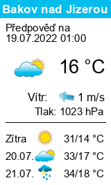 Počasí Bakov nad Jizerou - Slunečno.cz