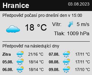 Počasí Hranice - Slunečno.cz