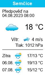 Předpověď počasí pro Semčice
