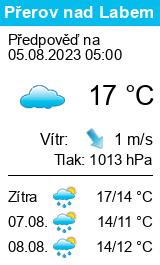 Počasí Přerov nad Labem dnes i zítra předpověď