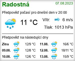 Počasí Radostná pod Kozákovem - Slunečno.cz