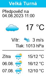 Počasí Velká Turná - Slunečno.cz