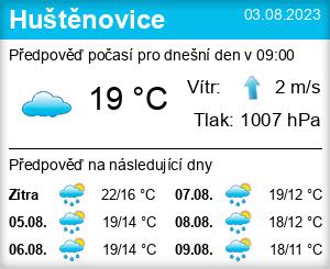 Počasí Huštěnovice - Slunečno.cz