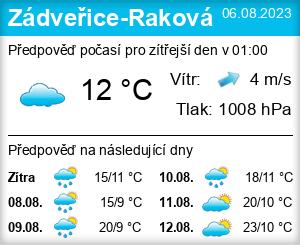 Počasí Zádveřice-Raková - Slunečno.cz