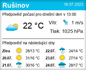 Počasí Rušinov - Slunečno.cz