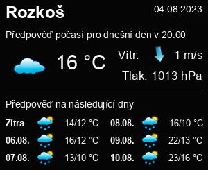 Počasí Rozkoš (rybník) - Slunečno.cz