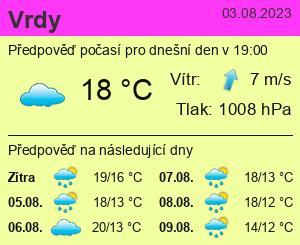 Počasí Vrdy - Slunečno.cz