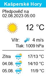 Počasí Kašperské Hory (ski areál) - Slunečno.cz