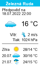 Počasí Železná Ruda - Nad nádražím - Slunečno.cz