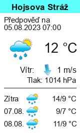 Počasí Hojsova Stráž - Vyhlídka - Slunečno.cz