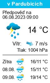Počasí Pardubice dlouhodobá předpověď na týden