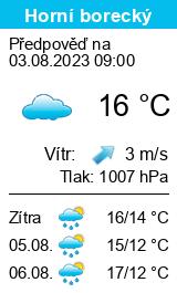 Počasí Horní borecký dnes i zítra předpověď