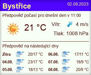Počasí Bystřice (okres Benešov) - Slunečno.cz