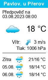 Počasí Pavlovice u Přerova - Slunečno.cz