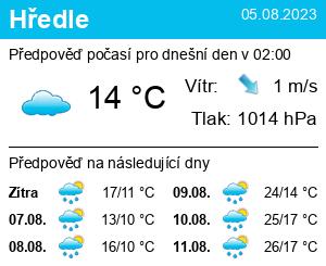 Počasí Hředle - Slunečno.cz