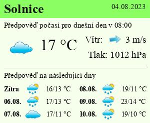 Počasí Solnice - Slunečno.cz