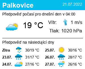 Počasí Palkovice - Slunečno.cz