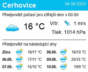 Počasí Cerhovice - Slunečno.cz