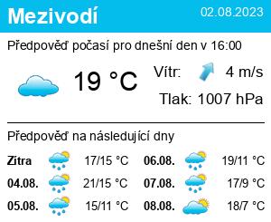 Počasí Mezivodí - Slunečno.cz