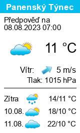 Počasí Panenský Týnec - Slunečno.cz