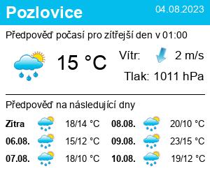 Počasí Pozlovice - Slunečno.cz