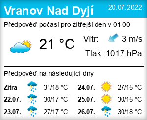 Počasí Vranov Nad Dyjí - Slunečno.cz